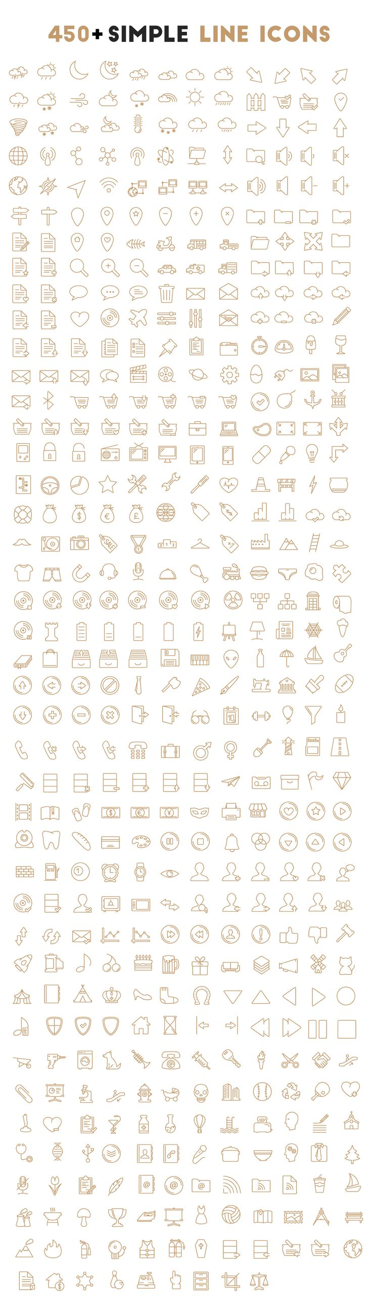 Outline Icons set which consists of 450+ vector icons. The download package contains AI/EPS of all icons and SVG file format for individual icons!