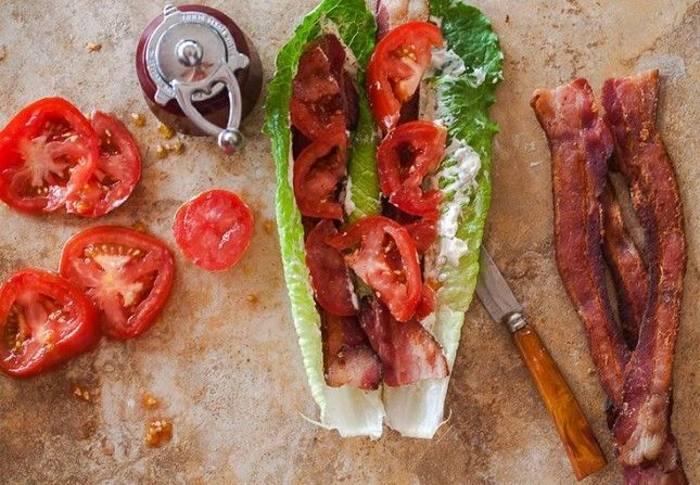 14 Satisfying Low-Carb Lunch Recipes   Brit + Co  The BLT lettuce wrap is such a great idea - reminds me of the grilled romaine salad at the Fireside in Regina! And seriously, you can't go wrong with BACON!!