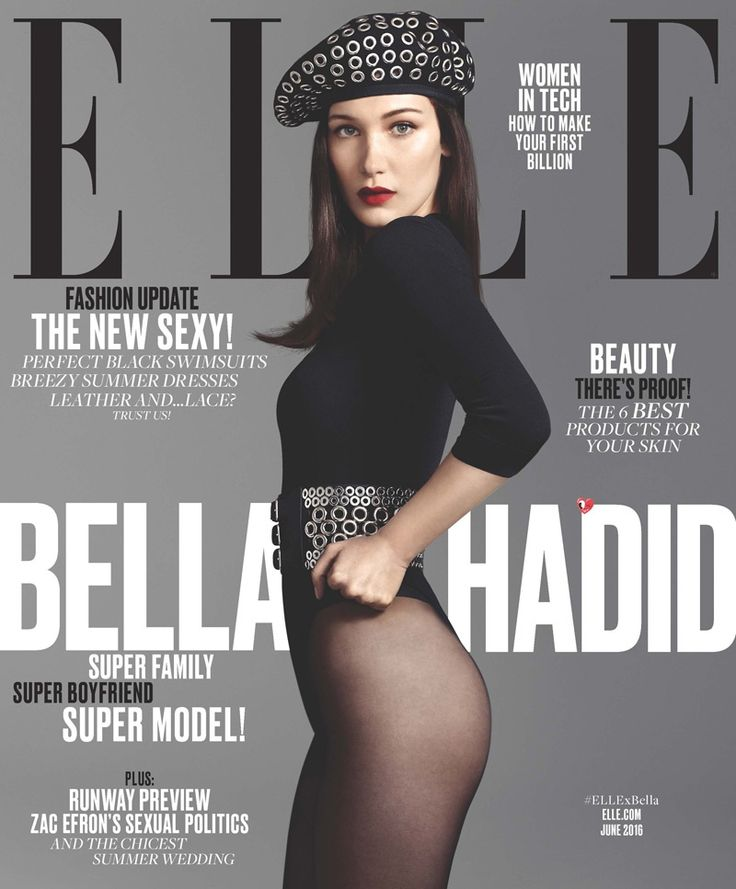 Bella Hadid lands yet another cover, posing on the June 2016 issue of ELLE Magazine. Photographed by Terry Tsiolis