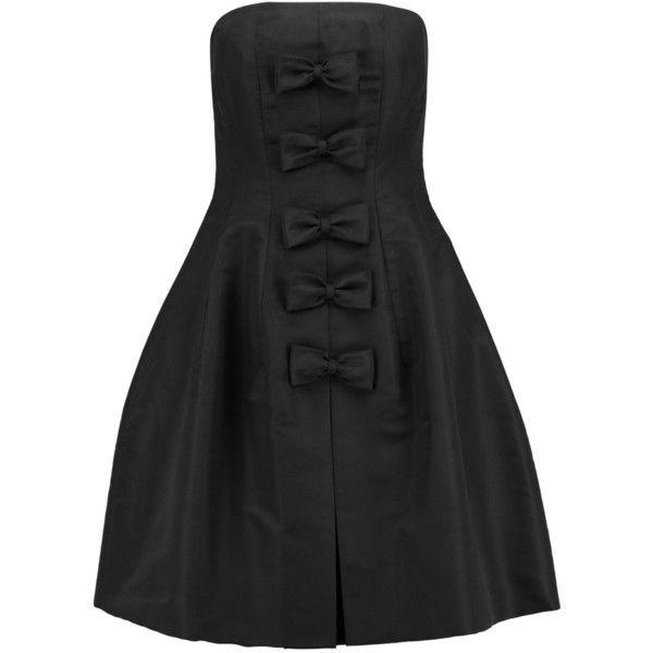 Oscar de la Renta Bow-embellished silk-satin dress ($400) ❤ liked on Polyvore featuring dresses, silk satin dress, oscar de la renta, bow dress, oscar de la renta cocktail dress and oscar de la renta dresses