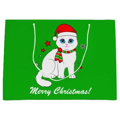 #Christmas Cat at Christmas Time Large Gift Bag - #Xmas #ChristmasEve Christmas Eve #Christmas #merry #xmas #family #kids #gifts #holidays #Santa