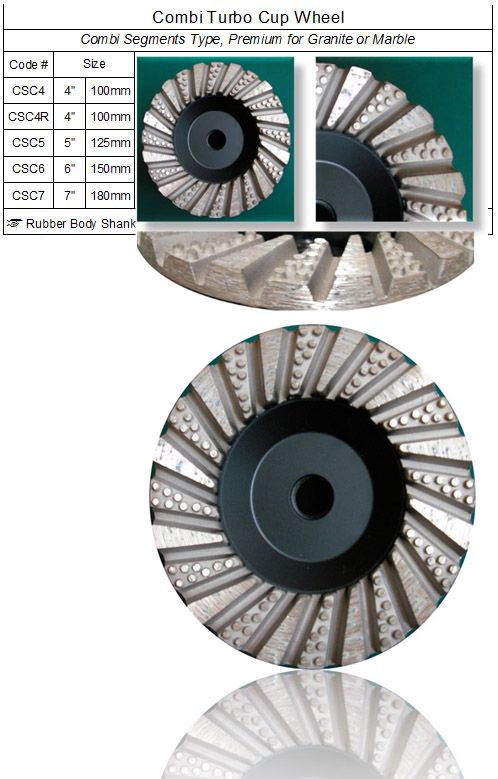 Combi Segments Turbo Cup Wheel made by RM Tech Korea (StoneTools Korea®) provides the highest quality; world top selling more than 500 sets monthly