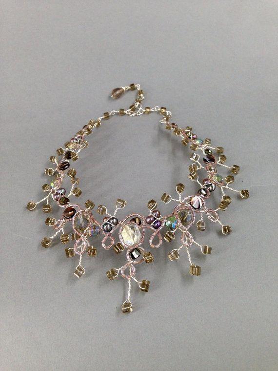 Silver and smoky quartz branchy necklace bridal by TrinesTreasures