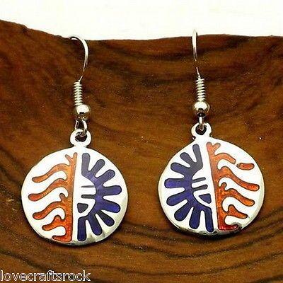 Silver-Earrings-Handmade-Dangle-Round-Fashion-Jewelry-Blue-Amber-Resin-Alpaca