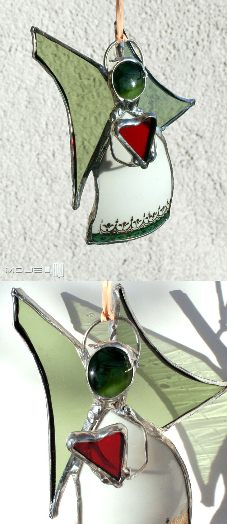 Anioł / Angel. Witraż Tiffany. Glass. Glass Angel. Serce / Heart. Moje MW