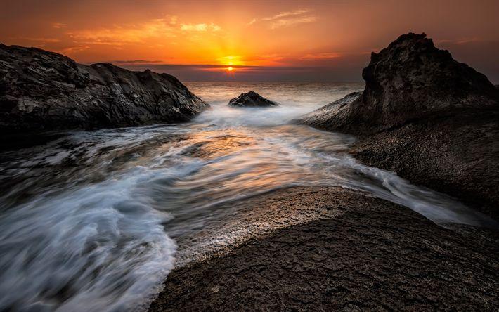 Download wallpapers seascape, sunset, coast, sea, waves, sea surf, rocky coast