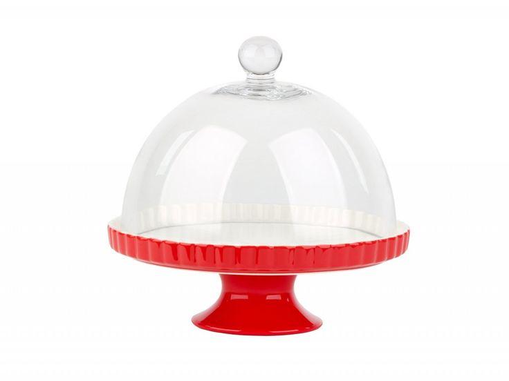 Alzata per torte della linea Arezzo di La Porcellana Bianca con campana in vetro per la protezione degli alimenti. Base in ceramica bicolore rossa e bianca. Misura diametro 23 e 27 cm