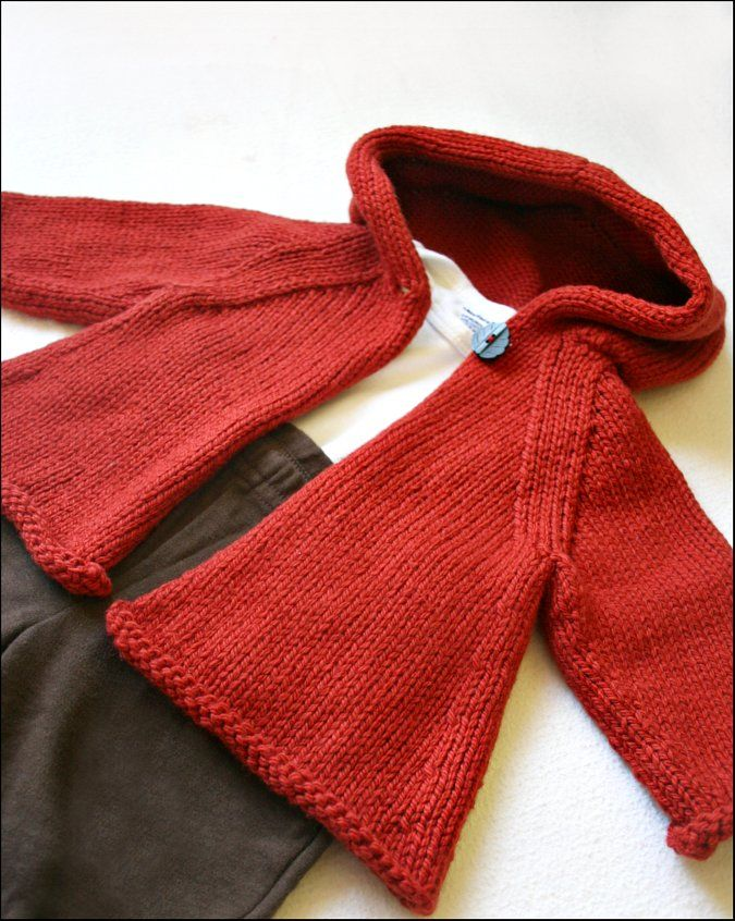 Red hooded A-line sweater ...shared by Vivikene