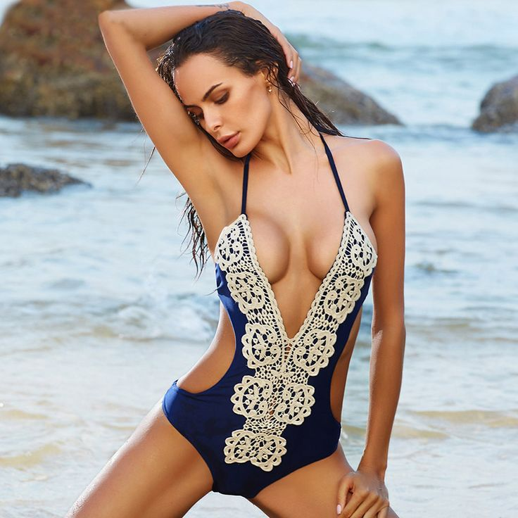 BOKONI Lace One Piece Swimsuit Push Up Swimwear Women Sexy Beach Monokini Bodysuits Solid Retro Bathing suits Brazilian Biquini-in One-Piece Suits from Sports & Entertainment on Aliexpress.com | Alibaba Group