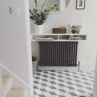 Little hallway snap - nifty little shelf unit from ikea to create a console table vibe without stealing too much space  #hallway #ihavethisthingwithfloors #tiles #ceramic #home #interiors #ikea #mirror #grey #styling #radiator #ammonite #london #lbloggers #plants #stowrenovation