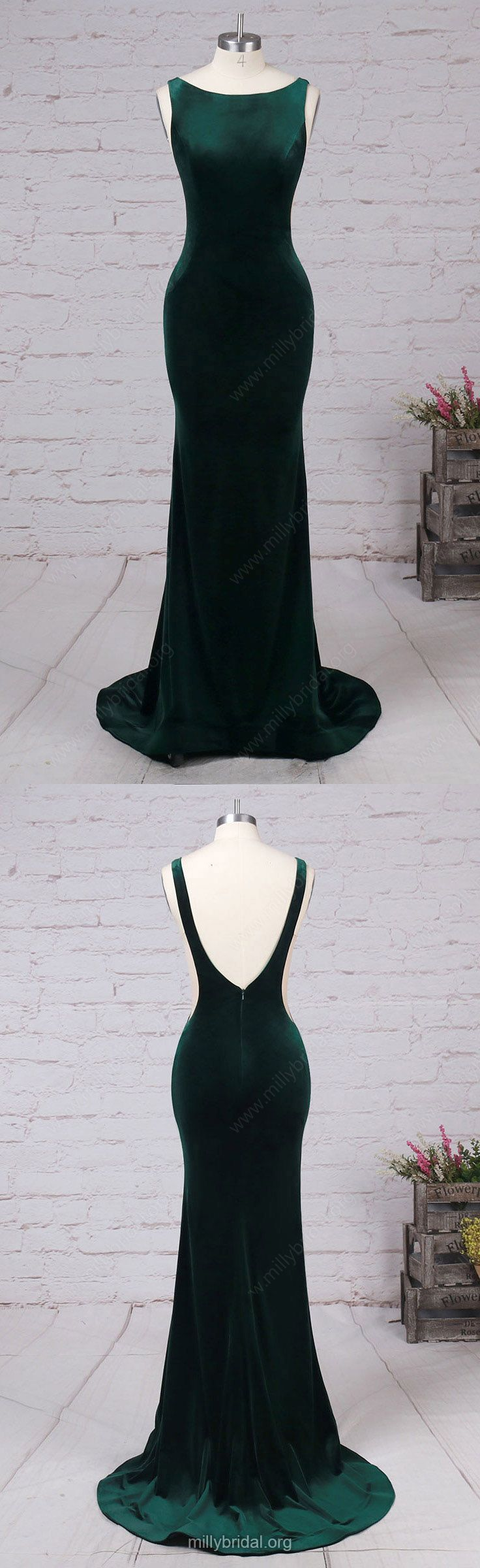 Green Prom Dresses,Long Prom Dresses,2018 Prom Dresses For Teens,Trumpet/Mermaid Formal Evening Dresses Scoop Neck, Tulle Party Pageant Dresses Velvet #greendresses