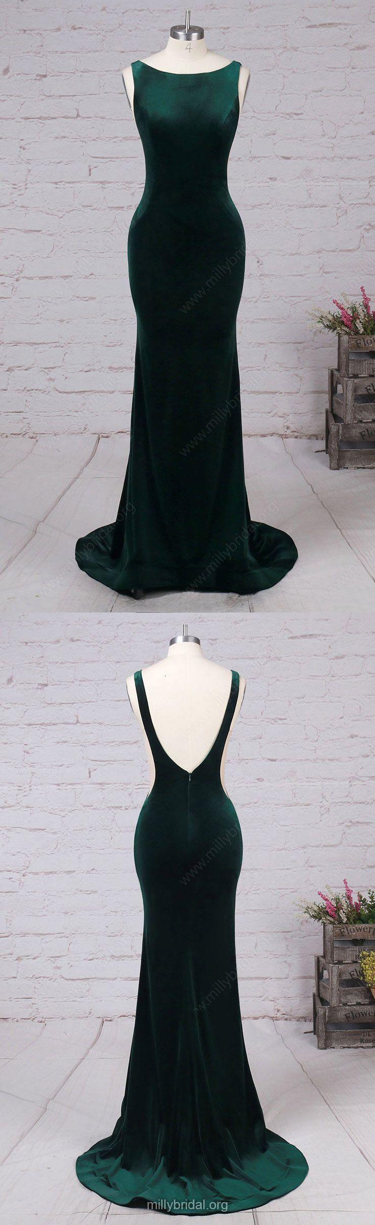 Green Prom Dresses,Long Prom Dresses,2018 Prom Dresses For Teens,Trumpet/Mermaid Formal Evening Dresses Scoop Neck, Tulle Party Pageant Dresses Velvet #greendresses