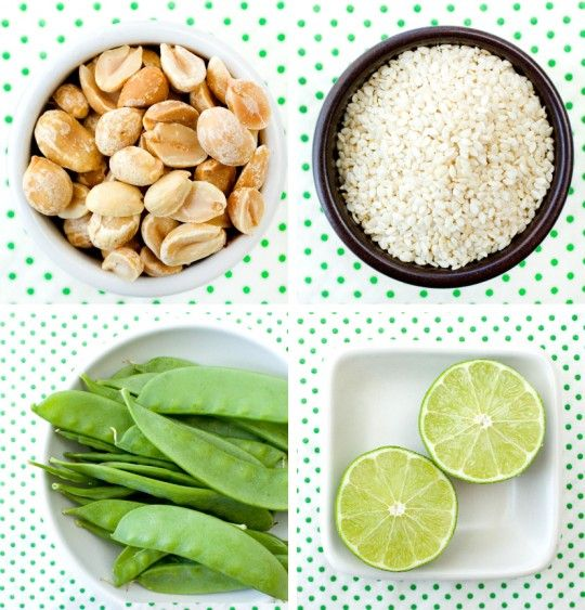 Fun ingredients for sesame + peanut noodles with snow peas