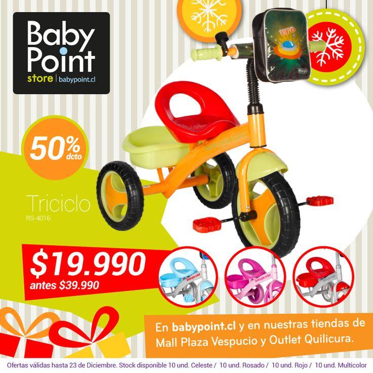 50%.... ¡Sí! ¡50% de descuento en triciclo BebeGlo! Un regalo de navidad ideal para los pequeños que tienen mucha energía  Revísalo en este link -> bit.ly/136SkCl