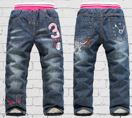 Девушка хаки джинсы 2-7Yrs девочки теплые зимние джинсы брюки мода белый полные штаны теплые брюки брюки дети 1419