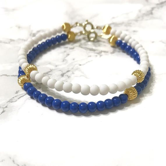 blue and white bracelet, game day fashion, patriots colors