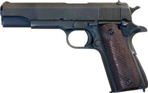 I like this particular appearance of the M1911, dark wood grip, dark metal.  If anyone ever buys this for me, I can't actually take it immediately, they have to keep it, give me the serial number so I can get a NY license, add this gun to it, then take ownership.