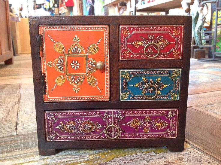 Hand painted mango wood 3 drawer, 1 cupboard chest