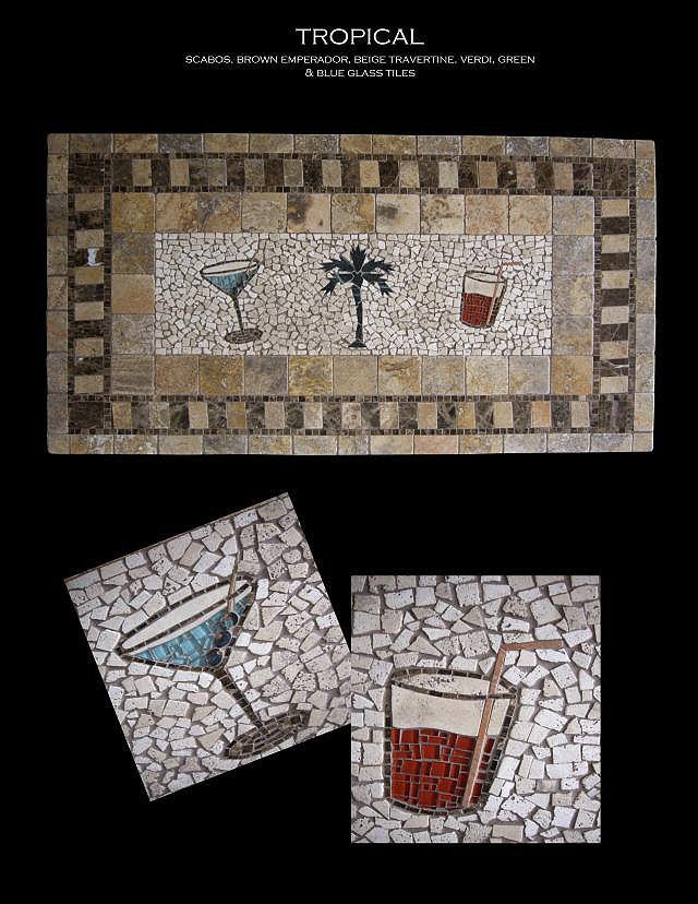 tile tables | Tropical Mosaic Tile Table Top