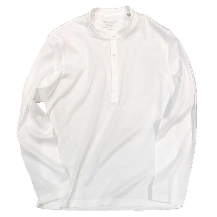 ビランチオーニ スタンドカラー 長袖シャツ  ホワイト ビランチオーニ クルーネンック サマーニット ピンク #bilancioni #cotton #luxury #mensfashion #fashion #hikoginza #selectshop #ginza #HIKO銀座 #最高級セレクトショップ #メンズファッション #ビランチオーニ #バンドカラー #長袖カットソー #スタンドカラー #立ち襟