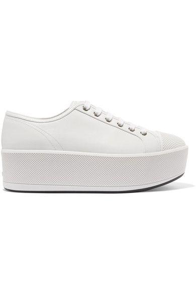 Prada - Linea Rossa Leather Platform Sneakers - White - IT35.5