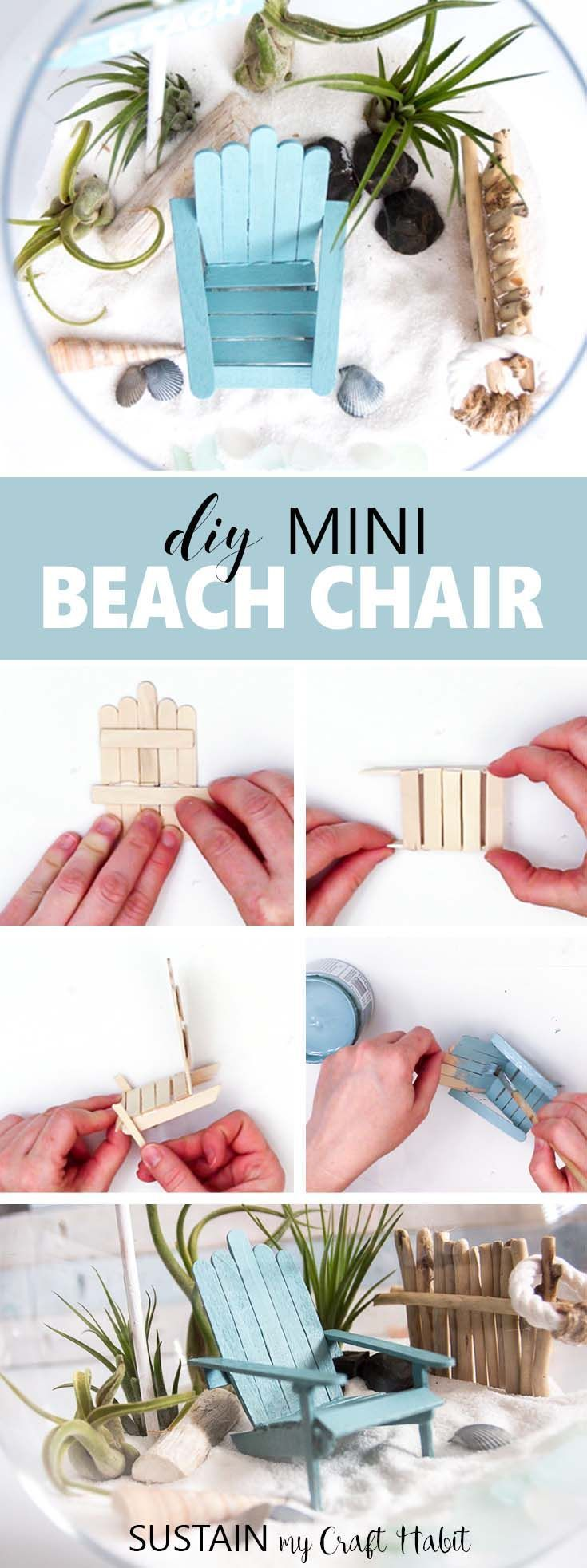 Learn how to make these mini beach chairs. Perfect fairy garden accessory idea. Miniature Adirondack Chair | Popsicle Stick Craft Idea | Mini garden DIY #minigardens