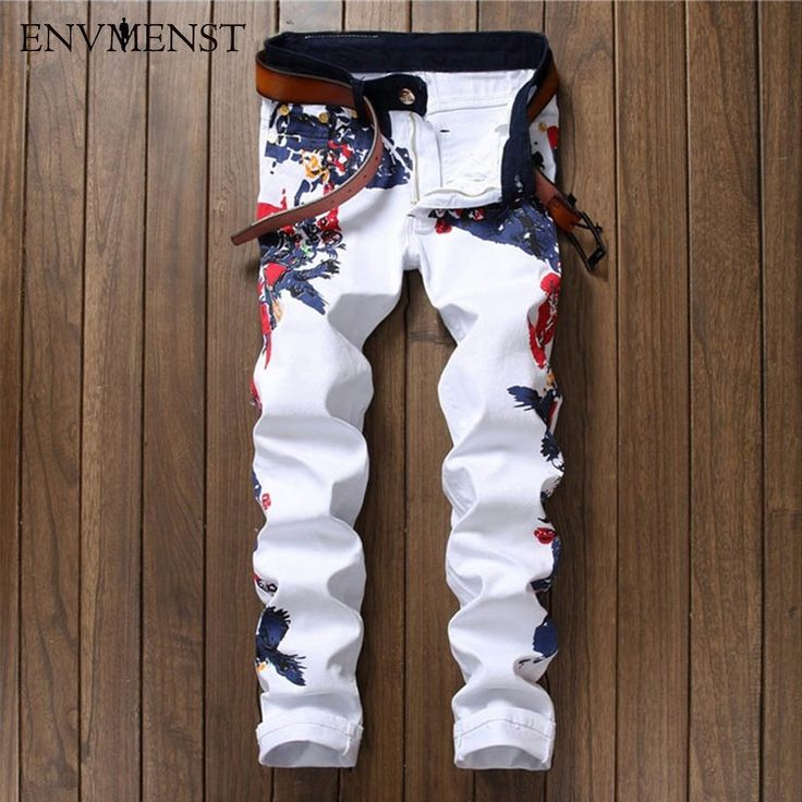 26.67$  Buy here - http://ali7g9.shopchina.info/go.php?t=32806508894 - 2016 New Men's Nightclubs printed Jeans For Men Fashion Flower Printed Denim white Jeans Men plus size 29-38 casual jeans 26.67$ #aliexpressideas