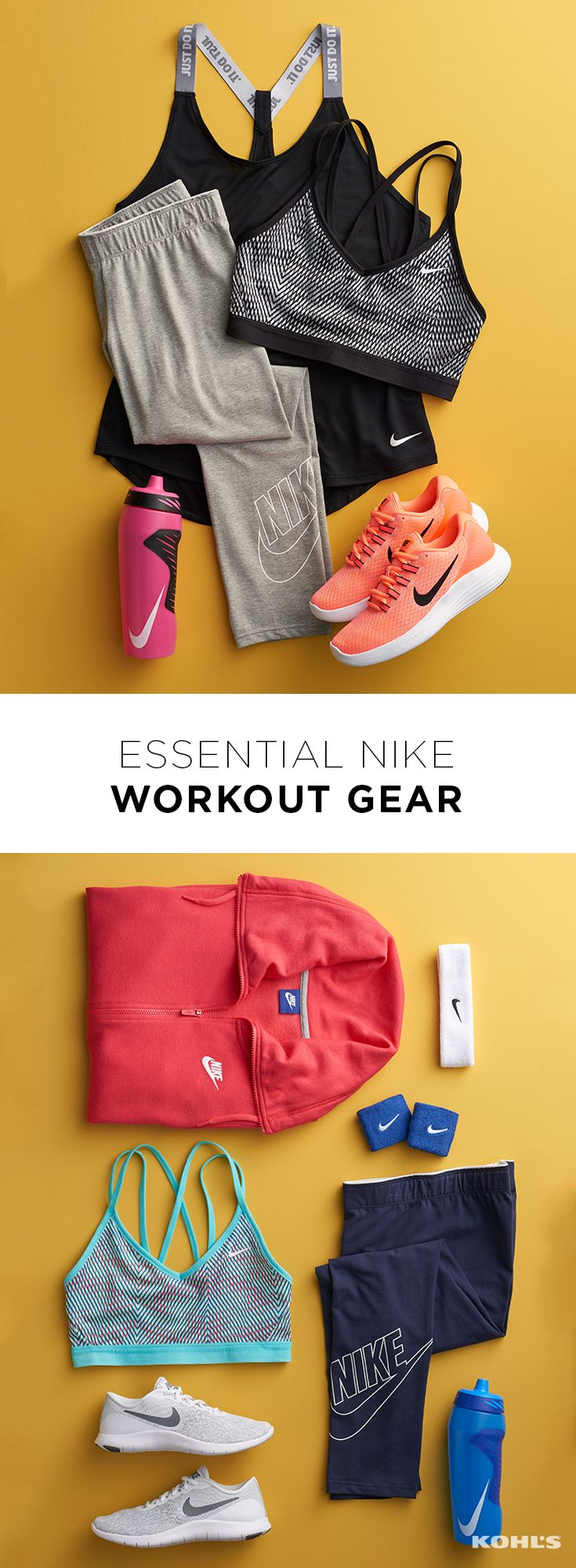 Workout fads come and go but some things remain essential. You can do almost any workout (or, let's be honest, just relax on the couch) with a supportive sports bra, wicking tank top, leggings and your trusty running shoes. Best of all, they're all available (and perfectly coordinating!) from Nike. Get healthy with Kohl's.