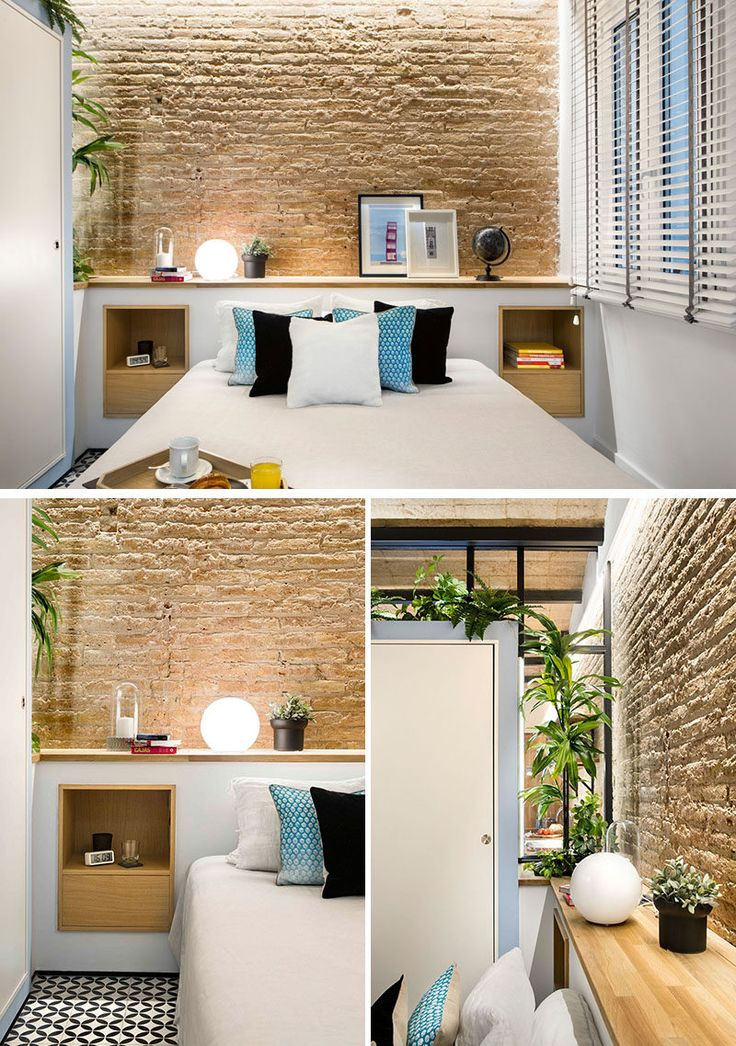 In this modern bedroom, a multi-functional headboard was included to help maximize storage in the room. Able to be used a night stand and a decorative shelf, it makes space for plants, photographs, and extra lighting. The headboard also contrasts the exposed brick wall.
