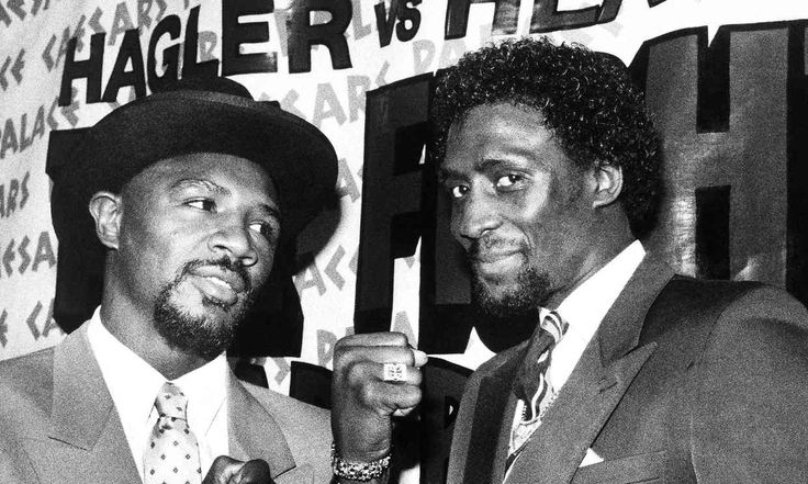 """Marvelous Marvin Hagler vs Thomas """"Hit Man"""" Hearns took place April 15, Here, the fighters pose during a January1985 promotional event in Boston MA."""