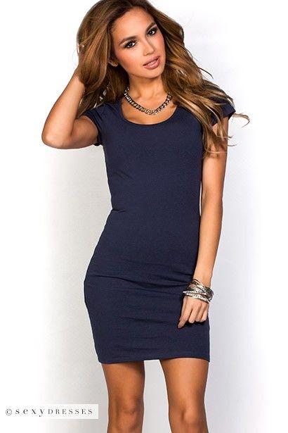 """Vicky"" Navy Blue Scoop Neck Short Sleeve Bodycon T Shirt Dress"
