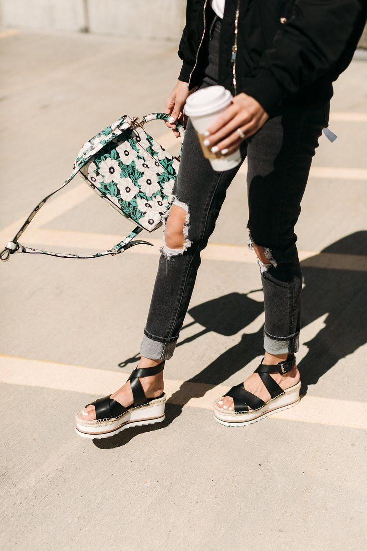 HelloFashionBlog: Relaxed and distressed denim paired with the perfect sporty platform sandal for spring