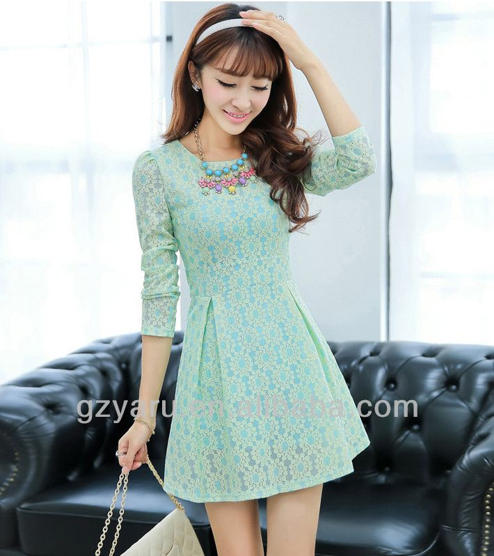 korean young ladies long sleeve short lace dresses fashion