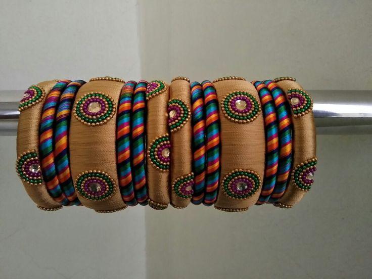 Gold n mixed colour silk thread Bangles