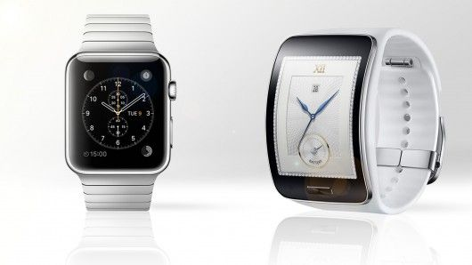 Gizmag compares the features and specs of the Apple Watch (left) and Samsung Gear S smartw...