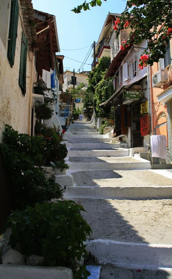Steps in Parga, Greece Remember climbing these in some very short Daisy Duke shorts - blush!