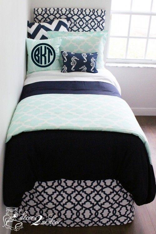 Mint & Navy Nautical Designer Bed In A Bag Set  $234.00