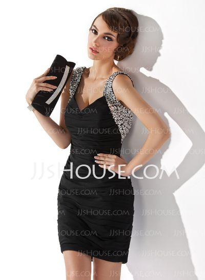 Cocktail Dresses - $127.49 - Sheath V-neck Short/Mini Chiffon Cocktail Dress With Ruffle Beading Sequins (016020949) http://jjshouse.com/Sheath-V-Neck-Short-Mini-Chiffon-Cocktail-Dress-With-Ruffle-Beading-Sequins-016020949-g20949