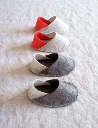 Felt Baby Slippers | The Purl Bee Free pdf pattern and step by step Photo tutorial - Bildanleitung und gratis pdf Schnittvorlage
