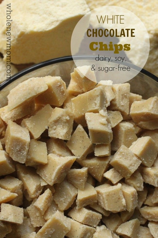 """Homemade White Chocolate Chips Recipe - dairy free, sugar free, and soy free!  Great for baking, in trail mixes, melted as a topping, or just """"out of the bag!"""""""
