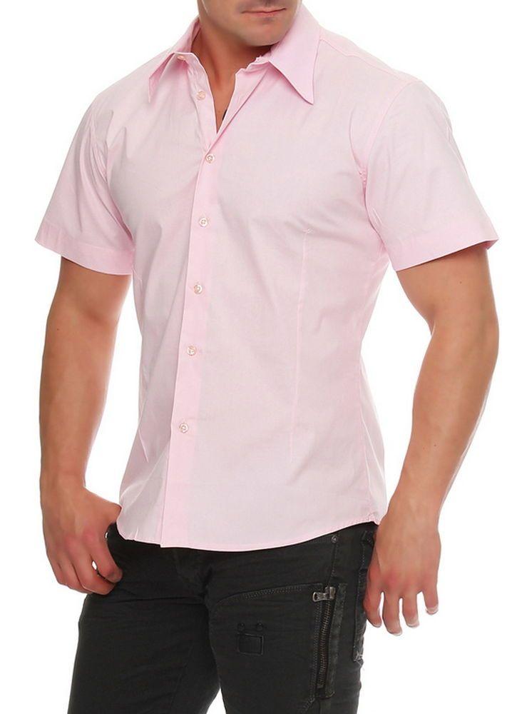 Wasabi Wear Designer Kurzarm Hemd Freizeithemd Shirt New Brand Slim-Fit Rosa
