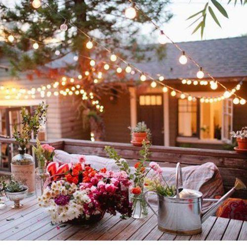 bougies, décoration, éclairage, guinguette, guirlandes électriques, jardin, lampions
