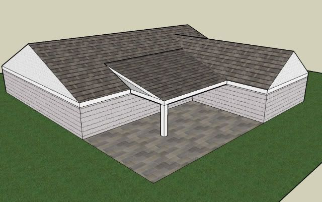 what type of porch roof can i build for L shaped house - Google Search