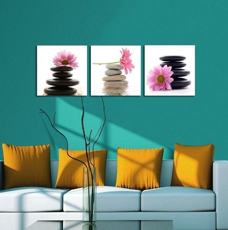 3 quadri zen margherita rosa e sassi cm 50x50 (new22)