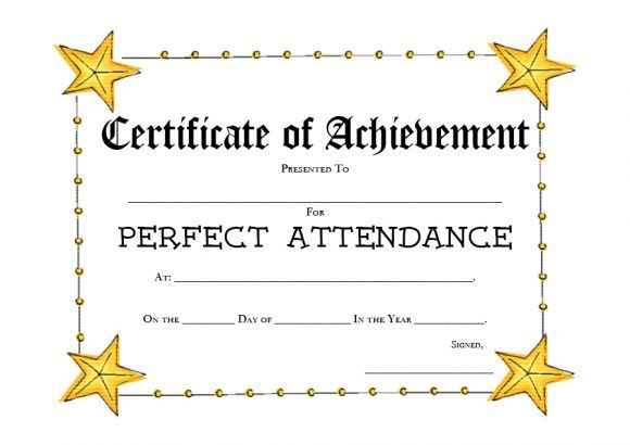 New Perfect Attendance Certificate Template In 2021 Perfect Attendance Perfect Attendance Award Attendance Certificate