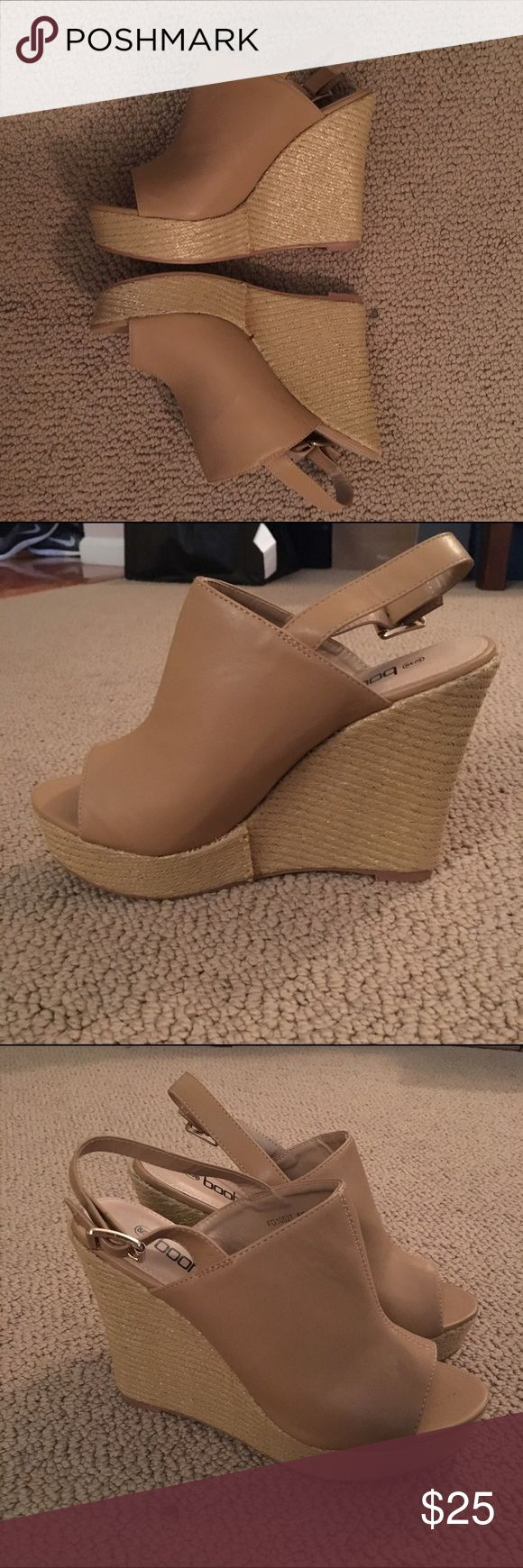 Nude Wedges These are nude espadrille wedges from Boohoo. Fits sizes 8 and 8.5. Never been worn. Boohoo Shoes Wedges