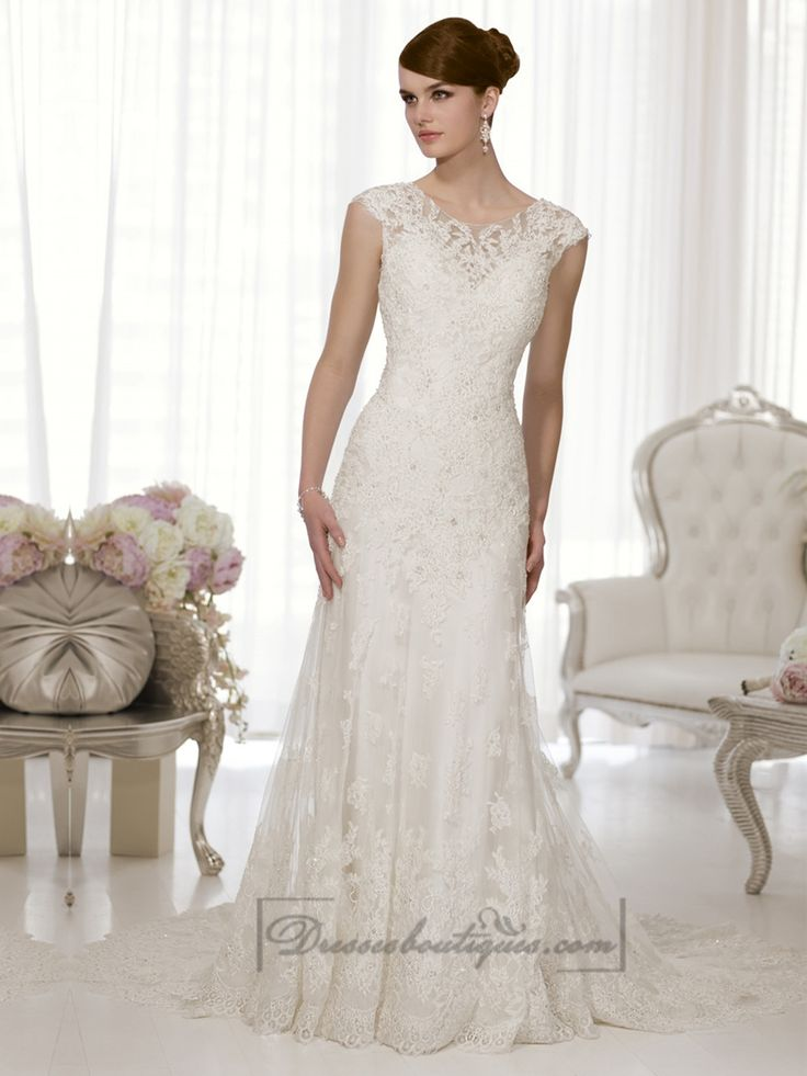 Sheath Cap Sleeves Boat Neckline Low Back Wedding Dresses