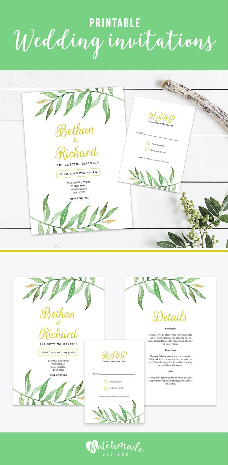 Greenery wedding invitation template set. Personalise the design and print your own invitations at home!