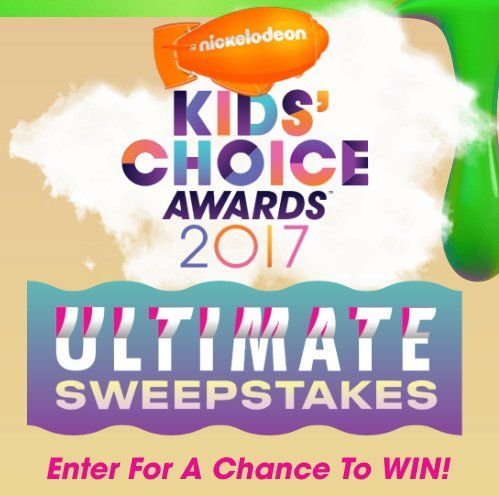 You could win a $4,455.00 family trip to Los Angeles along with opportunity to attend event rehearsals, 4 admission tickets to the 2017 Kids' Choice Awards live event and $1000 for spending.    Submit an official entry form with all required details...
