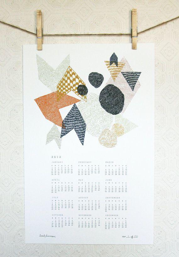 2012 geometric wall calendar by leah duncan.